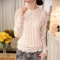 Wholesale Ladies Ruffled Lace Blouses - 2017 New Fashion Ladies White Women's Long Sleeve Chiffon Lace Crochet Tops Blouses Women Clothing Feminine Blouse Free shipping