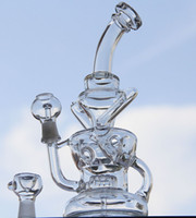 "Wholesale New Selling - New double recycler bong 10"" inches Two functions water pipe hot sell oil rig glass pipe"