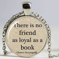 Wholesale Quotes Books - Book Lover Hemingway Quote Lover Jewelry Hemingway Pendant Book Quote Pendant necklace
