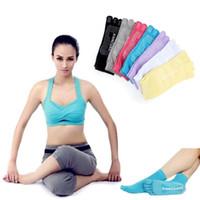Wholesale Yoga Pilates Toes Socks - 5 Toes Yoga Socks Exercise Massage Sports Cotton Pilates Socks Anti Slip Yoga Socks Women Gym Socks Finger Socks Gym Socks D603 5pairs