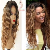 Wholesale Hair Beyonce - Dark roots 1b 30 beyonce style wavy Human Hair Wigs Brazilian Ombre dark root wavy Full Lace Human Hair Wigs For Women