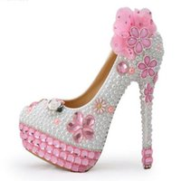 Wholesale Bling Rhinestone Shoes - 2016 Handmade Pink Crystal High Heels Bling Bling Rhinestone and White Pearl Wedding Shoes Bridal High Heel Party Prom Shoes size 34&39