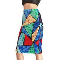Wholesale Clear 3d Puzzles - NEW Arrival 0011 Sexy Girl Women Summer tangram seven-piece puzzle 3D Prints Skater Evening Sexy Knee Length Tight Pencil Skirt