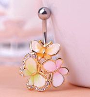 Nette Bauchnabelpiercings Kaufen -Kawaii Nette Drei Schmetterling Nabel Piercings Marke Womans Fashion Colares Bijuterias Feminino Bauchnabel Ringe Percing Bijoux