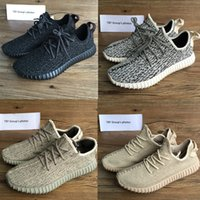 Wholesale Socks Tan - better quality 350 Boost Training Shoes Kanye west shoes Oxford Tan Moonrock Kanye Shoes Pirate Black Turtle Dove Keychain+Socks+Bag+Receip