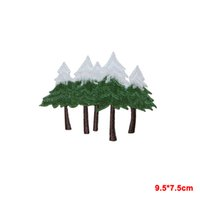 Wholesale Wholesale Christmas Iron Appliques - Snow Capped Pine Trees Christmas Embroidered Iron On Applique Patch