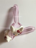 Wholesale Blown Glass Cat - Heady Hello Kitty Cat pink Pipes Glass Pipes Spoon Pipes Ash Catcher Glass Water Pipe Hand Blown Smoking Pipes Portable Hookahs Glass Bongs