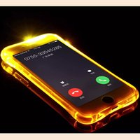 Wholesale Cheap TPU PC LED Flash Light Up Case Remind Incoming Call Cover for iPhone SE S Plus Samsung S7 S6 Edge Note Clear Transparent Skin
