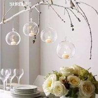 10PCS / Lot 80MM Подвешивание держателя Tealight Glass Globes Terrarium Wedding Candle Holder Подсвечник Vase Home Hotel Bar Decoration
