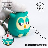 Wholesale Owl Flashlight - The owl LED sound luminous key chain Creative small toys flashlight gift for boy and girl accessories wholesale