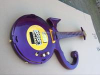 Wholesale Guitar Tremolo Gold - Unique Rare Shaped Guitar Metallic Purple Pince Symbol Electric Guitar Floyd Rose Tremolo Bridge Gold Hardware