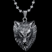 Wholesale Wolf Beads Pendant - Factory Direct Punk Jewelry 316l Stainless Steel Wolf Head Necklace Long Beads Chain Animal Pendant Necklace For Men Jewelry