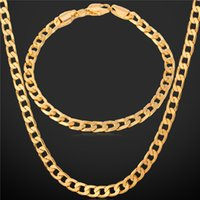 "Wholesale Gold Cuban Chain Stamped - U7 Gold Cuban Chain For Men With 18K Stamp Real Gold Plated Hiphop Jewelry 5MM 18"" 22"" 26"" Curb Chain Necklace NH744"