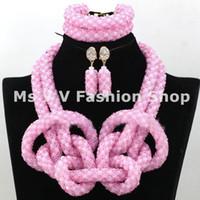 Wholesale Pink Gold Statement Necklace - 2016 statement charms pink african beads jewelry indian jewelry beaded bracelet necklace earring 18k gold jewelry fit wedding party gift