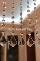 Wholesale Crystal Wedding Curtains - 10inch K9 Crystal Curtain Wedding Strand, 10PCS Chandelier Crystal With 10pcs 14mm Beads+ 12mm Metal Ring+ 1 Prism 38MM Pendant