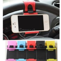 Wholesale Standing Universal Socket - Universal Car Steering Wheel Cell phone Socket Holder Clip Car Bike Mount Stand Flexible Phone iphone GPS Holder extend to 76mm Free DHL