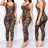 Wholesale Women Sexy Pants Bodysuit - Women Jumpsuit 2016 Sexy Rompers Army Camouflage Bodysuit Bodycon Long Pant Sleeveless Camisole Blackless O-Neck Suit Feminino Playsuits
