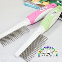 Wholesale Stainless Steel Dog Teeth - Dog grooming comb stainless steel dog comb short and long tooth comb dog dematting comb CM901
