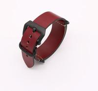 relojes para hombre panerai al por mayor-24mm el más nuevo hombre mujer VINTAGE rojo correa de correa de reloj correa de cuero liso real plata negro cepillado tornillo hebilla de lujo anillo de la OTAN Zulú