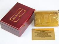 hoja de oro tarjetas al por mayor-Juego de naipes de póker chapado en oro 24K Tradicional con caja roja Coleccionables gratis