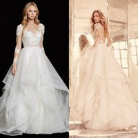 Wholesale Open Back Ball Gowns - 2016 Sexy Wedding Dresses Ivory Ball Gown A Line Illusion V Neck Long Sleeves Lace Appliques Bridal Gowns Open Back Ruffles Bridal Gowns