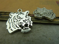 Wholesale Elephant Head Necklace - 10pcs 24x27mm antique silver tiger head pendant, tiger head charm, animal necklace setting alloy elephant Jewelry findings C4577