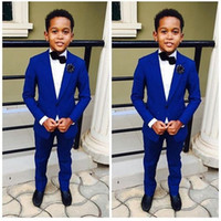 Wholesale Corduroy Tuxedo Suit - Royal Blue Kid's Formal Wedding Groom Tuxedos Flower Boys Children Party Suits