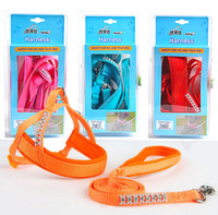 Wholesale Dog Harness Diamonds - Luxury Diamond Nylon Small Dog Cat Harness With Form Top Quality Nylon Pet Training Leash Solid Lead Dog Rope 3 Color Mix Order 10PCS LOT