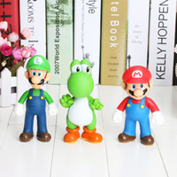 Wholesale Wholesale Mario Bros Toys - 3pcs set Super Mario Bros figure Mario Yoshi Luigi PVC Action Figure Collection Model Toys Dolls Gifts