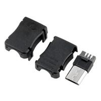 t steckdosen großhandel-3 in 1 mk5p micro usb 5 pin 5 p t port stecker buchse steckerplastik abdeckung case für diy löten