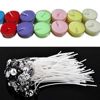 Wholesale 50pcs cm Candle Wicks Cotton Core Pre Waxed Tabbed With Metal Sustainers DIY Candles Making Supplies