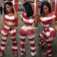 Wholesale Tie Sexy Pants - 2017 summer tie dye print wine red S-XL women fashion 2 pieces sets sleeveless long wide leg pants sexy club party sets XD657