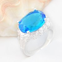 Top Fashion Real Wedding Rings 5pcs / lot Atacado Holiday Jóias Gift Party topaze azul 925 Sterling Silver Ring EUA r0513