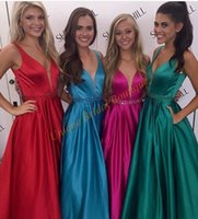 Wholesale Cheap Ring Real - 2017 Cheap Prom Dresses Real Pictures Deep V-Neck with Beaded Sash and Sleeveless Red Blue Fuchsia Hunter Satin A Line Ring Dance Gowns