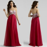 Wholesale Evening Drew - sexy Red Evening Dresses crystal pearl beading applique prom gown chiffon sweetheart Sleeveless draw graduation cocktail dress
