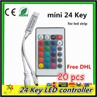 Wholesale Amplifier Rgb Dhl - Free DHL Mini 100pcs 24key LED Lights Controller RGB Color With Remote Controler Mini Dimmer for Led Strip Lights 12V rgb amplifier