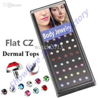 Wholesale Dermal Body Jewelry - Wholesale-Showlove 40pc case 14g CZ Stone Micro Dermal Anchor Top 3mm&4mm&5mm&6mm Gem Head Piercing Skin Diver Body Jewelry