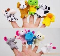 Wholesale Group Cartoons - Baby Plush Toys Finger Puppets Talking Props 10 animal group mini double layler cartoon stuffed animal toy 10ps set Free Shipping