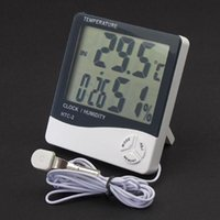 Wholesale Thermometer Cable - Multi-function Digital LCD Temperature Humidity Moisture Meter Clock Thermometer Hygrometer with Sensors Cable HTC-2 in retail package