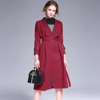 Wholesale Slim Rhinestone Belt - European style big fashion winter 100% Cotton windbreaker solid color tie Slim women's coat lapel longer jacket Trench Coats Wool & Blends