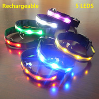 Wholesale Extra Battery Usb - Brand new USB LED flashing light Pet dog Collars rechargeable battery 7 colors 4 sizes free shipping
