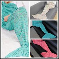 Wholesale blanket bags resale online - 4 Colors cm Mermaid Knitted Blanket Hollow Out Mermaid Blankets Mermaid Tail Handmade Sleeping Bag Sofa Blankets CCA8354