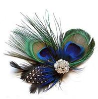 herramienta de pelo de plumas al por mayor-Lindo pavo real plumas pinzas para el cabello Rhinestone horquillas bola del pelo de la boda pinza de pelo accesorios para mujeres herramientas de belleza