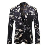 Wholesale Cool Slim Men Blazer - European Style Fashion Cool Men's Wave Printed Velvet Suit Collar Designer Blazer Printed Male Man Casual Slim Fit XXXL Blazers