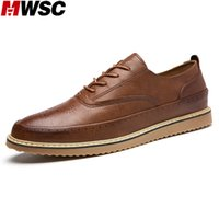 Wholesale New British Vintage Oxford Shoes - Wholesale- MWSC British Style Man Fashion Oxford Leather Shoes Male New Casual Lace Up Vintage Brogue Shoes Sapato Masculino
