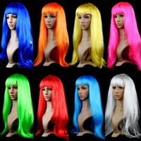 Wholesale Costumes Wigs Cheap - DHL Free shipping Anime Cosplay Wigs 14 colors Synthetic Hair Wig stage Cosplay Colored Halloween Costume cheap Long Straight Wigs For Party