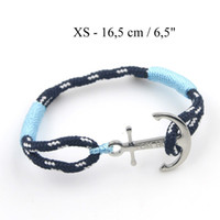 Wholesale Stainless Steel Anchor Bracelets - Stainless Steel Anchor ice blue and pink Rope Chain Handmade Charm Bracelet Jewelry Tom Hope Bracelet with box and tag TH001