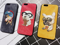 Wholesale Denim Phone Cases - Denim Embroider Dog Pattern Lanyard PC Soft edge Dog Lovers Essentials Back Cover Phone Cases For iphone 6 6s 7 7 plus
