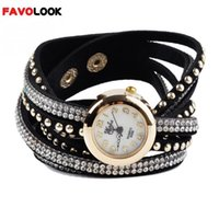 Gros-2016 New Girls Marque Fashion Quartz Multilayer PU cuir Rivets Bracelet Montre femme strass Casual Relogio Feminino Montres
