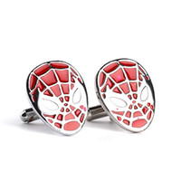 Wholesale Novelty Material - 2018 Spiderman Cufflinks color fashion novelty superheroes design copper material hot selling jewelry for men free shipping zj-0903653